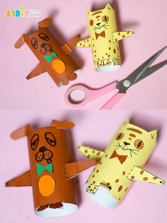 儿童手工制作萌萌的纸筒小人和小动物