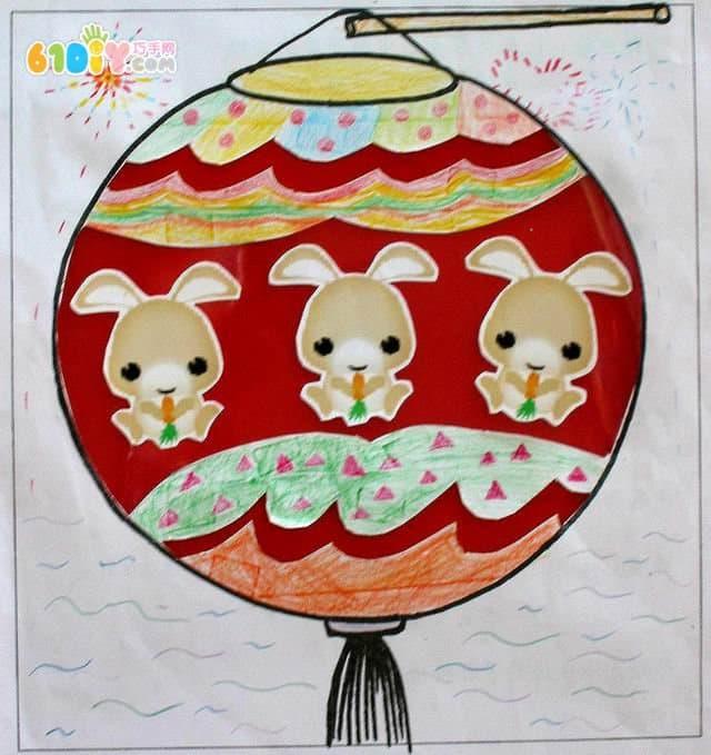 中秋节创意灯笼绘画贴画设计_巧巧手幼儿手工网