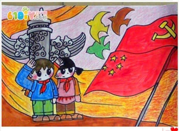 节儿童画,欢度国庆节儿童绘画作品,关于国庆节