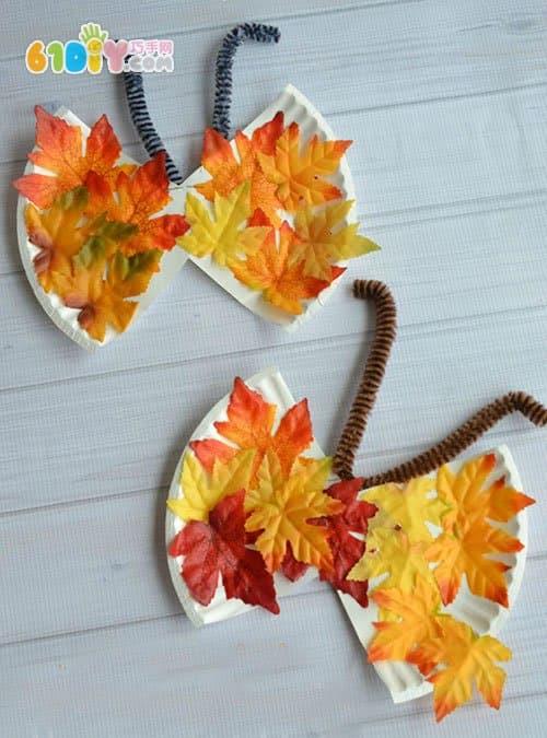 儿童秋天手工 用树叶纸盘制作蝴蝶