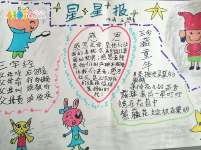 低年级小学生感恩节手抄报图片