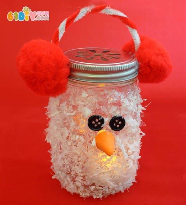 儿童制作玻璃瓶雪人灯笼_巧巧手幼儿手工网