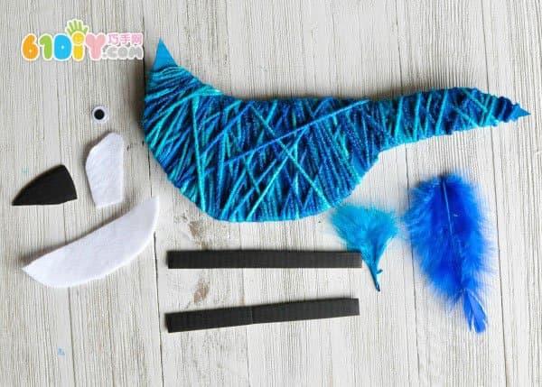 儿童手工 毛线纸板制作鹦鹉_巧巧手幼儿手工网