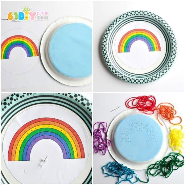 毛线手工制作纸盘彩虹装饰画