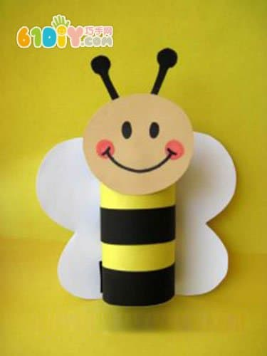 儿童手工制作可爱的纸筒小蜜蜂