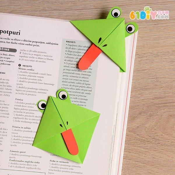 儿童手工折纸青蛙书角书签