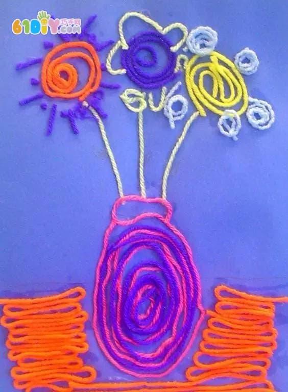 儿童手工制作毛线艺术贴画