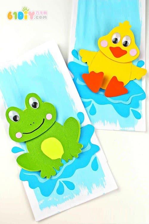 夏天手工制作小青蛙和小鸭子