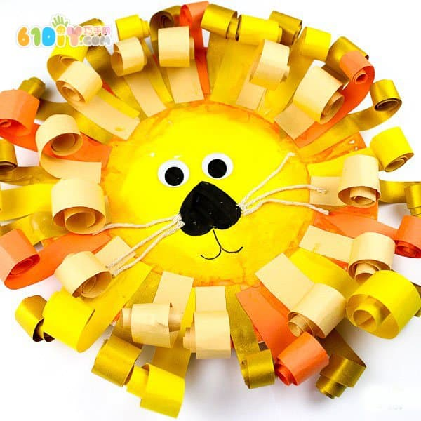 儿童手工制作纸盘狮子